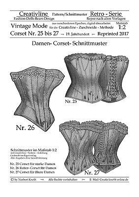Nr.25 bis 27 Corset Schnittmuster - Repro Historische Kostüme - M. 1:2 - Korsett