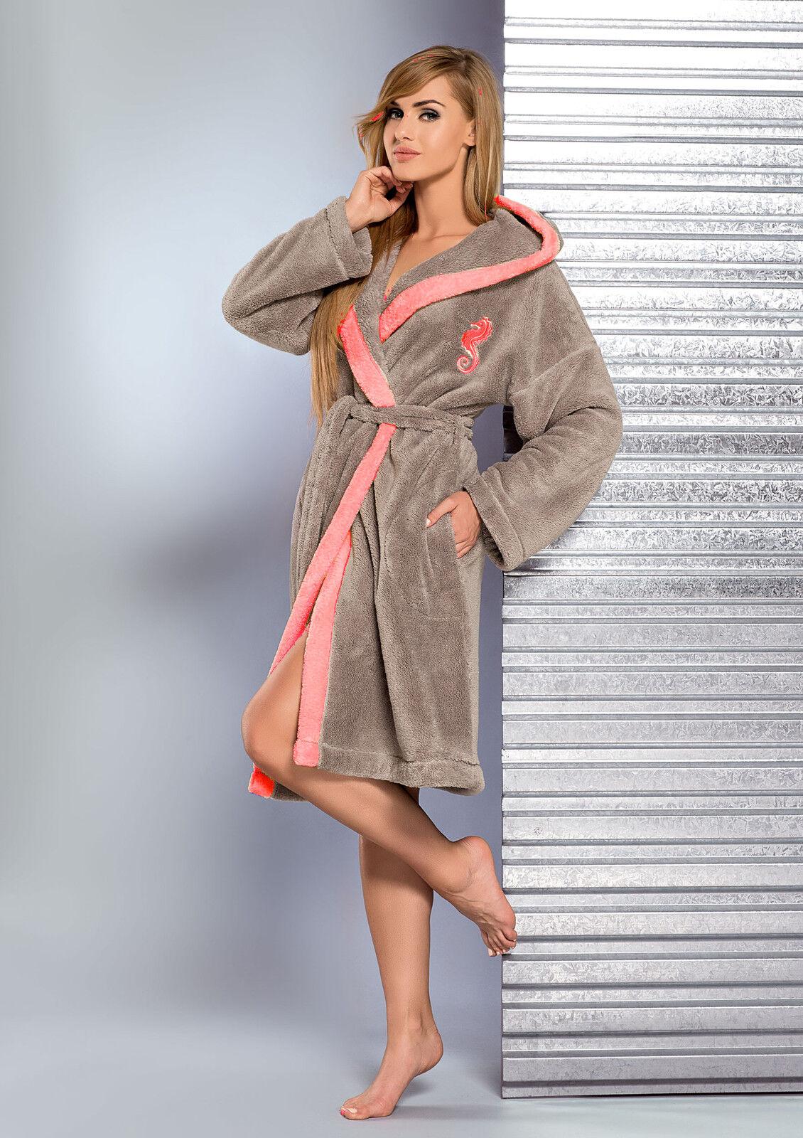 New Womens SOFT Dressing Gown Hooded Bathrobe Housecoat Robe UK Size ...