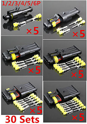 30 Sets 1 2 3 4 5 6 Pins Sealed Electrical Wire Connector Plug Auto Motorcycle