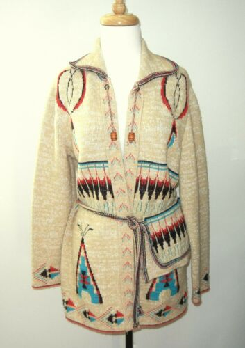 "Vtg Wintuk Sabra Native American Cardigan Sweater  Bust 38"" Southwestern Boho"