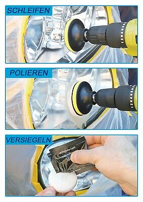 Reparatur Scheinwerfer schleifen polieren Versieglung Aufbereitung Politur Set