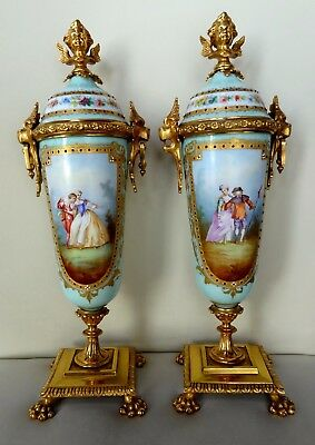 "Pair Superb Hand Painted 13"" Jewelled Sevres Style 19th Century Ormolu Vases"