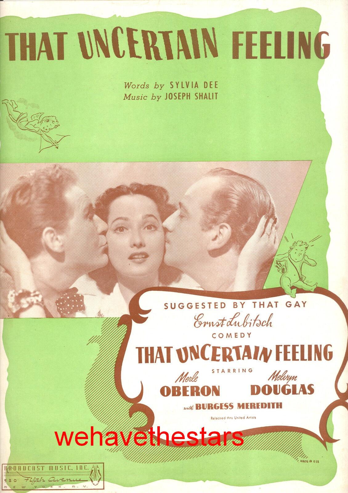 THAT Unfixed FEELING Sheet Music Merle Oberon Melvyn Douglas Ernst Lubitsch
