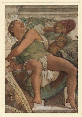 Michelangelo PROPHET JONAH Sistine Chapel Ceiling 1950 vintage art print