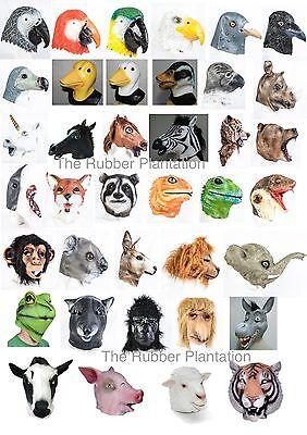 Latex Tier Maske Kostüm Halloween Zoo Dschungel Vogel Wald Safari Bauernhof Wild