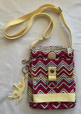 Kipling Small Crossbody Organizer Bag Chevron Yellow Pink w/Monkey FREE SHIPPING