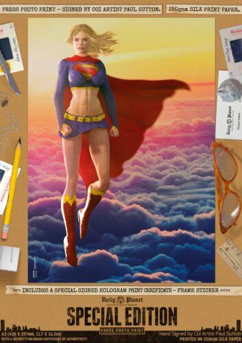 Sunshine Supergirl Sexy DC Signed A3 Comic Art Print Superman Kara Danvers Zor-E