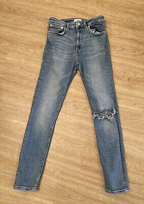 Zara, Size 10, Blue Stonewashed Ripped Jeans, Slim Leg