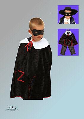 Kostüm Zorro Anzug Maske Karneval Fasching für Kinder von 4 bis 10 Jahre