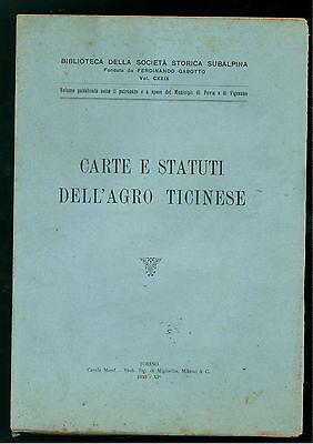 CARTE E STATUTI DELL'AGRO TICINESE MIGLIETTA 1933 PAVIA VIGEVANO LOMBARDIA