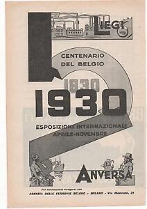 Pubblicita-epoca-1930-BELGIO-CENTENARIO-ANVERSA-advert-werbung-publicite-reklame