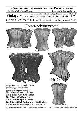 Nr.25 bis 30 Corset Schnittmuster - Repro Historische Kostüme - M. 1:2 - Korsett