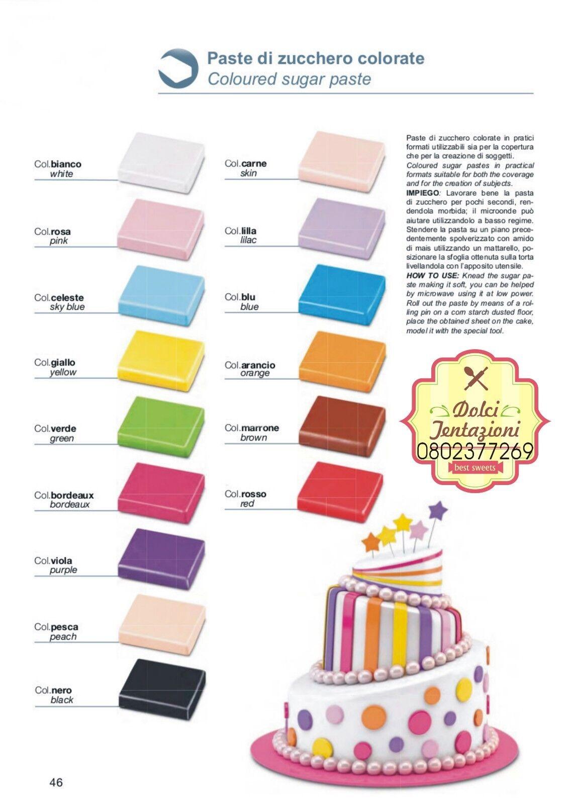 PASTA DI ZUCCHERO COLORATA COPERTURA AMBRA'S DA 1KG GR SENZA GLUTINE CAKE DESIGN
