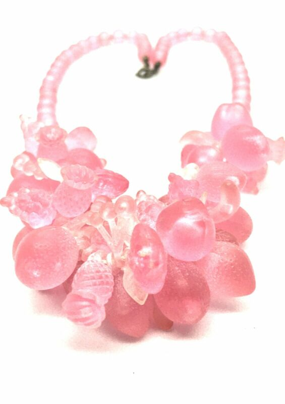Vtg Pink Choker Fruit Salad Celluloid & Lucite Early Plastics Necklace 20s 30s