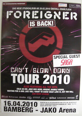 FOREIGNER CONCERT TOUR POSTER 2010 CAN'T SLOW DOWN