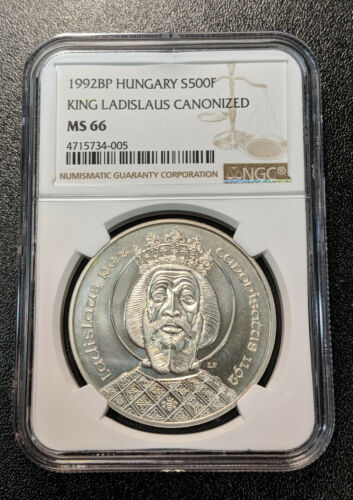 1992 MS66 Hungary Silver 500 Forint NGC KM 687 King Ladislaus only 10k minted!