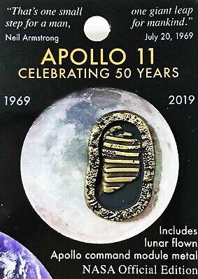 APOLLO 11 - 50th Anniversary - Lunar FLOWN METAL NASA Official Pin COA MINT