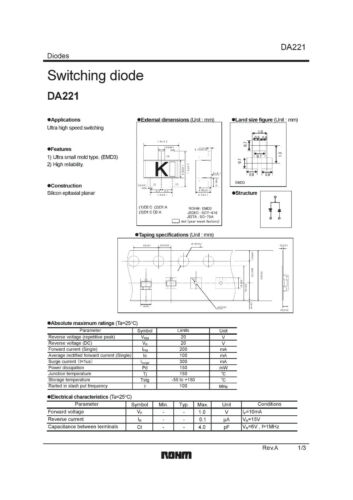 25X DA221 20V Dual Series Ultra high Speed Switching Diodes - 25pcs  [ DA221 ]