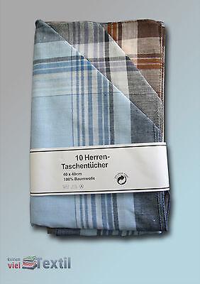 Klassische Herren Taschentücher Baumwolle 10 Stück Blau