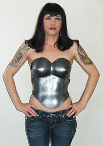 WOMANS LEATHER ARMOR SILVER FULL BREAST PLATE LARP SCA FANTASY VALKYRIE GODDESS