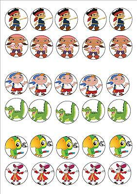 JAKE AND THE  NEVERLAND PIRATE EDIBLE RICE PAPER PARTY CUP CAKE TOPPER X 30