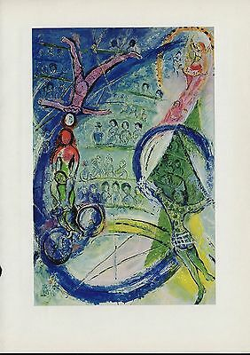 "1963 Vintage ""CYCLISTS, 1957"" CIRCUS by MARC CHAGALL COLOR Art Plate Lithograph"