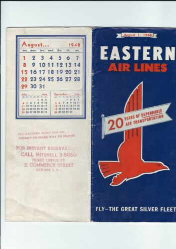 Eastern   Airlines  August  1. 1948 Timetable.