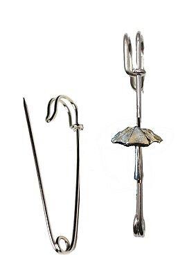 Parasol Umbrella 2.2x2.5cm ft110 Pewter Scarf Kilt Pin Pewter 3