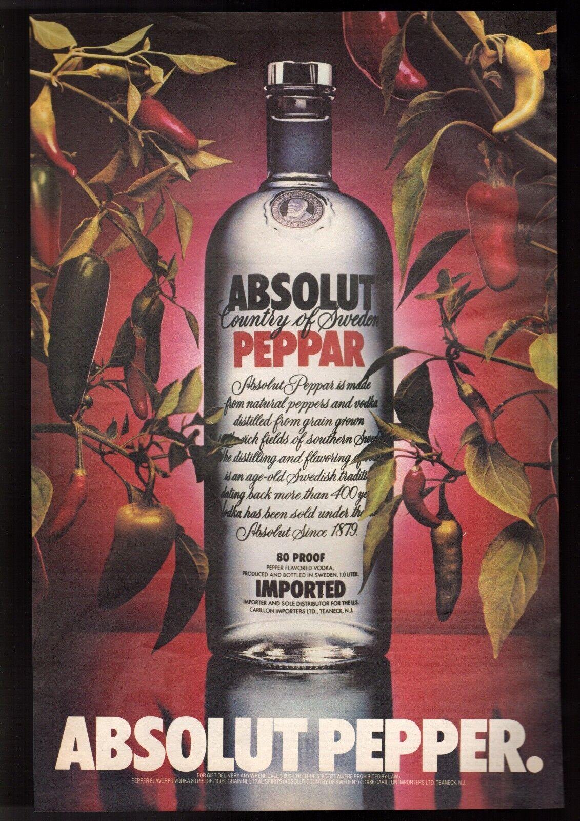 Details about 1986 Absolut Pepper Vodka Advertisement Big Vintage Print Ad
