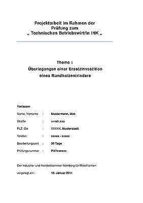 Projektarbeit Technischer Betriebswirt IHK, Überlegung einer Ersatzinvestion