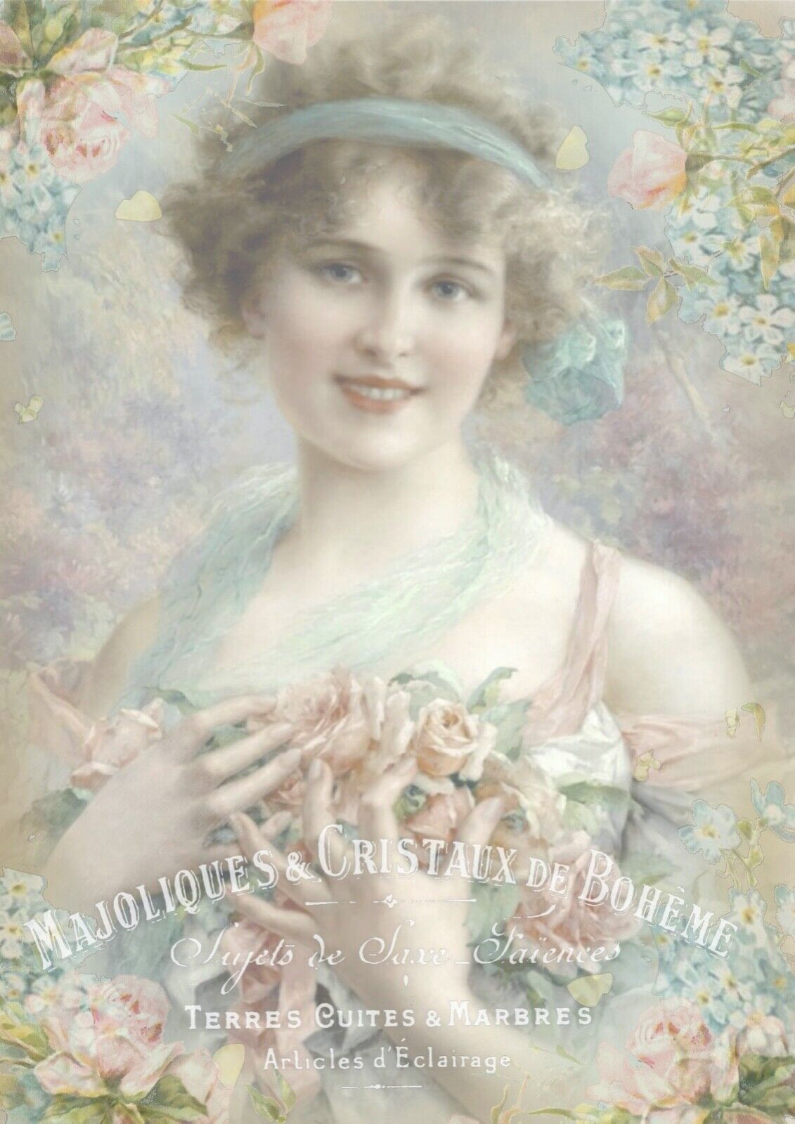 1 Blatt DIN A4 Decoupage Softpapier Lady with forget me not flowers