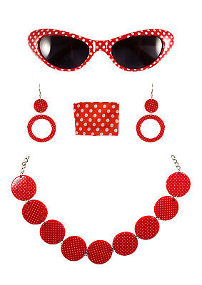 FANCY DRESS COSTUME ACCESSORIES 1950'S WOMAN 4 PIECE SET GLASSES NECKLACE SCARF (Mamma Mia Halloween)