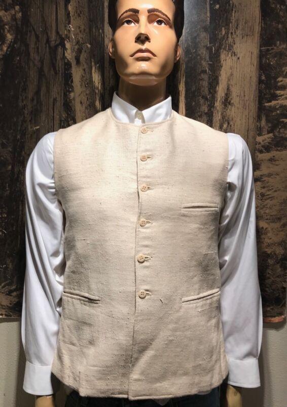 Vintage 38 Oatmeal Cream Vest Minar 100% Silk Handloomed Small New Delhi India