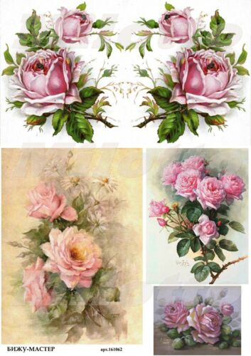 Rice paper decoupage 161062 napkin vintage flowers roses Decoupage supplies