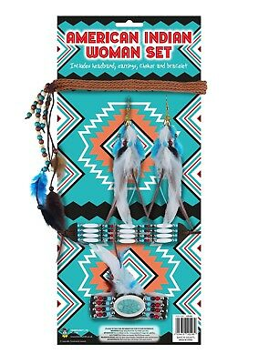 New Ladies Girls American Indian Woman 5 Pcs Set Native Party Fancy - Native Girl Kostüm