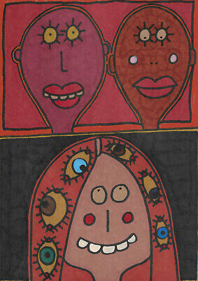 Original drawing by Jay Snelling Outsider art brut Two Men and the Lady Unframed