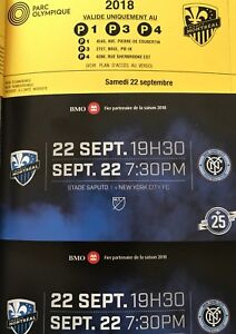 Biillets Montreal Impact vs New York FC 22 Septembre