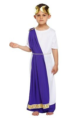 Boys Toga (BOYS ROMAN EMPEROR JULIUS CAESAR GREEK TOGA KING KIDS FANCY DRESS OUTFIT)