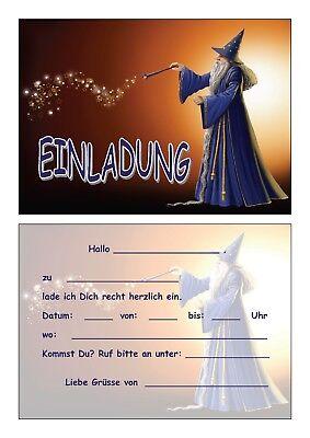 Einladungskarten Kinder Geburtstag Einladungen Zauberer Magier Hexer Hokuspokus
