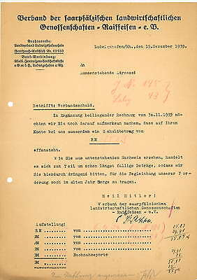 Rechnung 1939 Verband des saarpfälzischen landwirtschaftlichen Genossenschaften