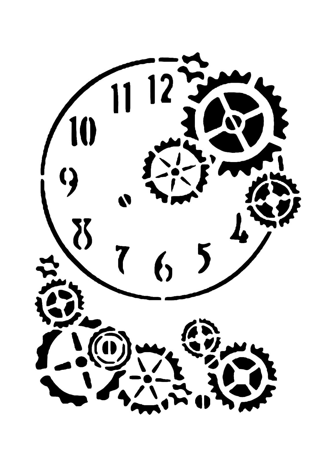 """Schablone """" Uhr mit Zahnräder """" auf A4"""