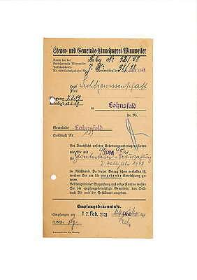 Steuer-Rechnung 1949 Steuer- und Gemeinde-Einnehmerei Winnweiler