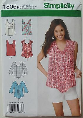 Simplicity 1806 Misses Tops Tunics Sewing Pattern Sz 8-16