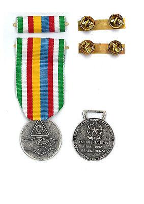 MEDAGLIA - NASTRINO EMERGENZA ETNA 1991-1992 PROTEZIONE CIVILE + CLIP