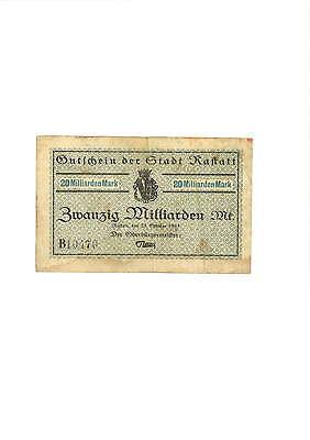 Rupertus 248.13c Notgeldschein Stadt Rastatt 20 Mrd Mk 23.10.1923