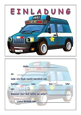 Einladungskarten Kinder Geburtstag Einladungen Polizei Polizeiauto Einsatzwagen