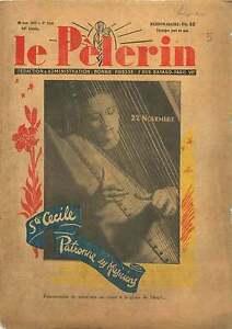 """la Harpe Portrait Sainte-Cécile Patronne des Musiciens France 1937 ILLUSTRATION - France - Commentaires du vendeur : """"OCCASION ATTENTION,QUE LA COUVERTURE, PAS LE JOURNAL ENTIER. Just the cover, not newspaper."""" - France"""