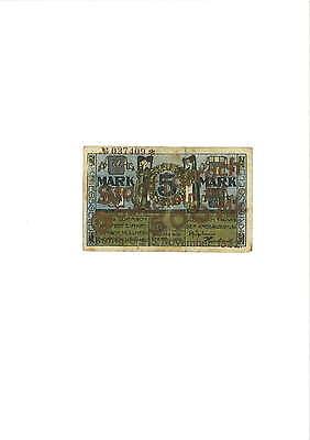 Rupertus 148.8b  Notgeldschein Stadt Lörrach 500 Mark ohne Datum auf 5 Mark