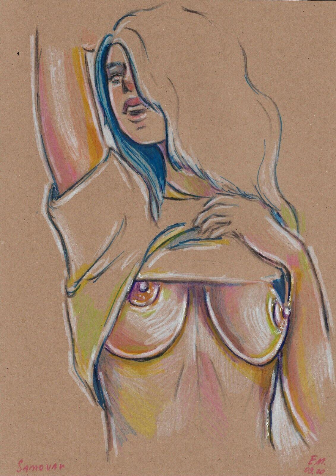 Original Drawing A4 113VE Art Samovar Kraft Paper Colored Marker Female Nude - $2.68