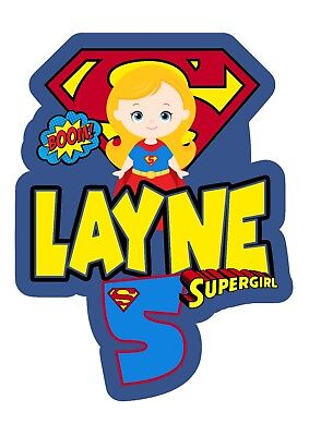 Supergirl PERSONALISED Cake Topper.  Lolly Bag Party Supplies Superhero Girl - Superhero Girl Cake